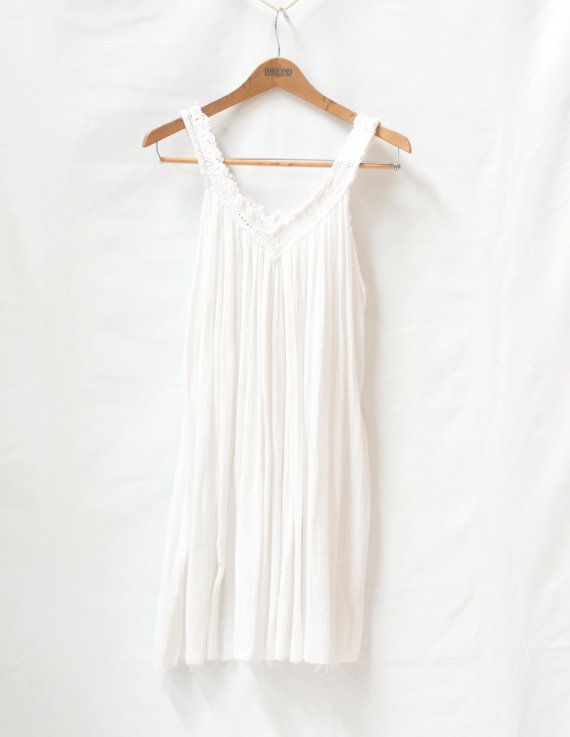 White Light Weight Nightie Repurposed Short Flowy Summer Dress Size Small/Medium