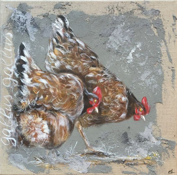Tableau poules sur toile de lin par odilelaresche sur etsy for Peinture glycero ou acrylique