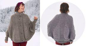 Chaud comme un pull, joli comme une cape, ce modèle qui mélange le point jersey et le point mousse est boutonné devant. Un joyeux mélange original à tricoter. Taille unique Le matériel Fil à ...
