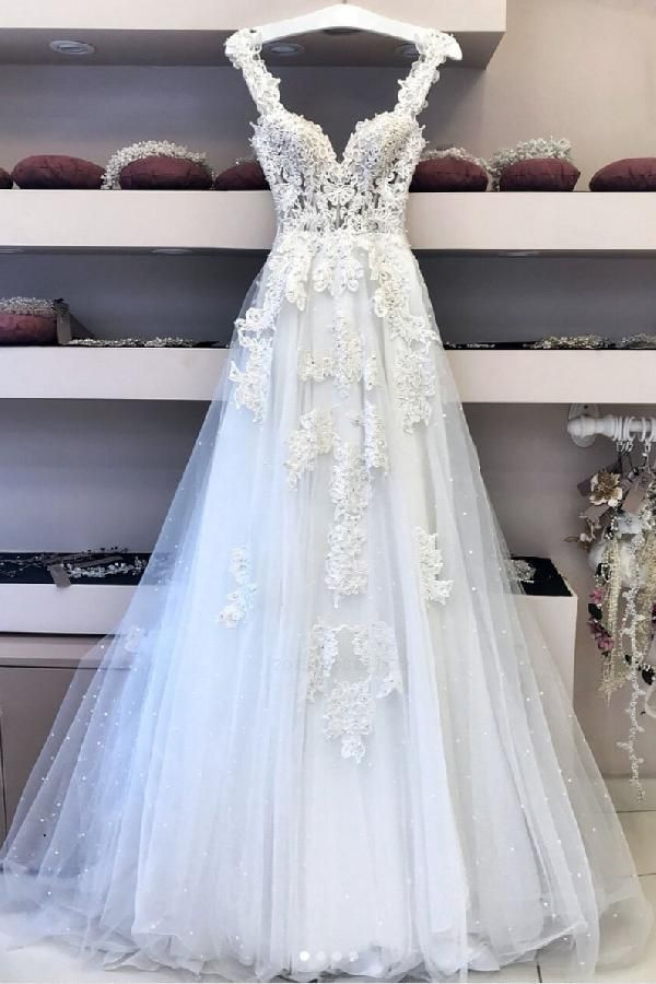 Outlet Fine Prom Dresses Long, White Lace Wedding Dress, White Wedding Dress, V Neck Wedding Dress