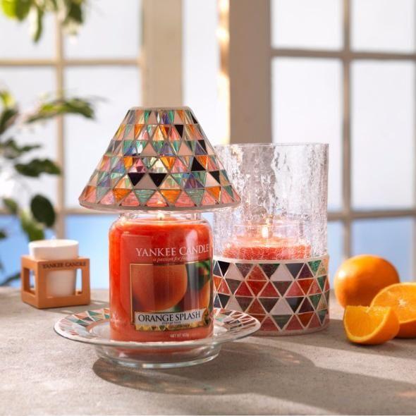 Petit abat jour et plateau Corsica Mosaic pour petites jarres Yankee Candle.