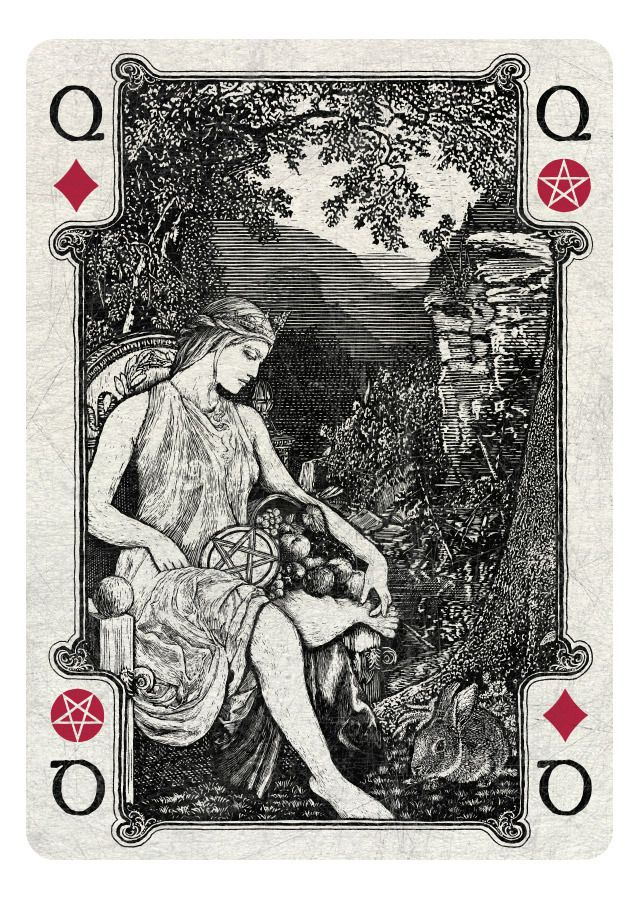 Arcana Playing Cards inspired by Tarot-Artwork by Chris Ovdiyenko, Dead on Paper-Queen of Diamonds/Pentacles