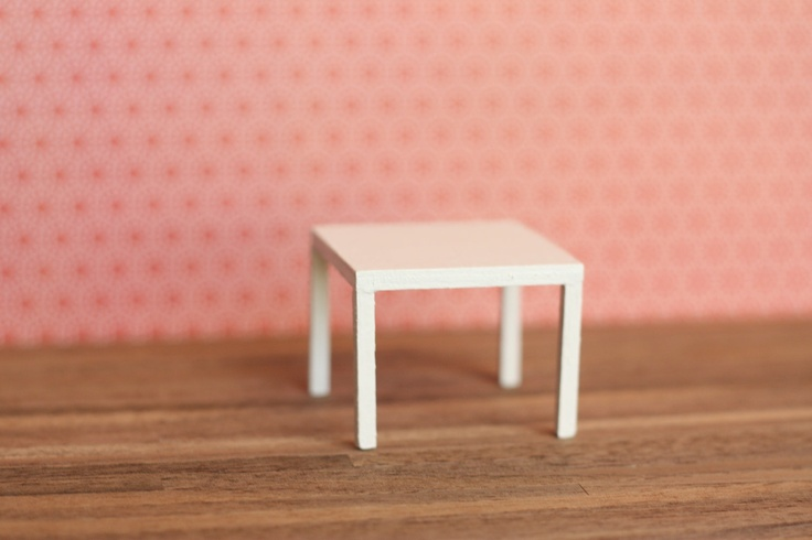 Modern Miniature End Table in White (inspired by IKEA Lack table)