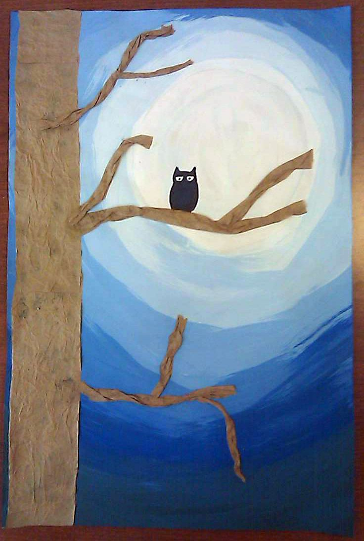 Owl Moon activity: textured tree with value background