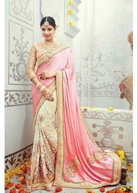 Baby Pink, Cream Satin Silk, Net Saree, - £339.00, #SareeFashion #DesignerSaree #IndianSaree #Shopkund