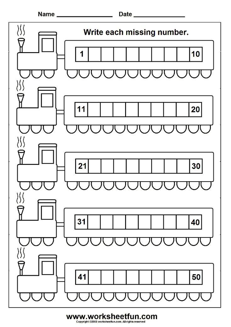 Missing Numbers (1-50) - 6 Worksheets