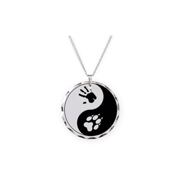 Wolf Therian Ying Yang Necklace (£14) ❤ liked on Polyvore featuring jewelry, necklaces, wolf necklace, circle jewelry, charm necklace, charmed circle jewelry and wolf jewelry