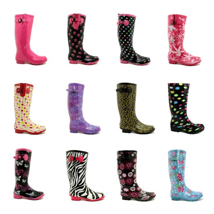 New Womens Festival Welly Wellies Wellington Flat Knee High Rain Boots Size | eBay