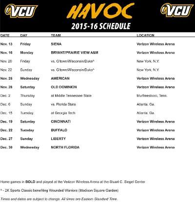 Seven Postseason Teams highlight 2015-16 VCU Men's Basketball Non-Conference Schedule - VCU