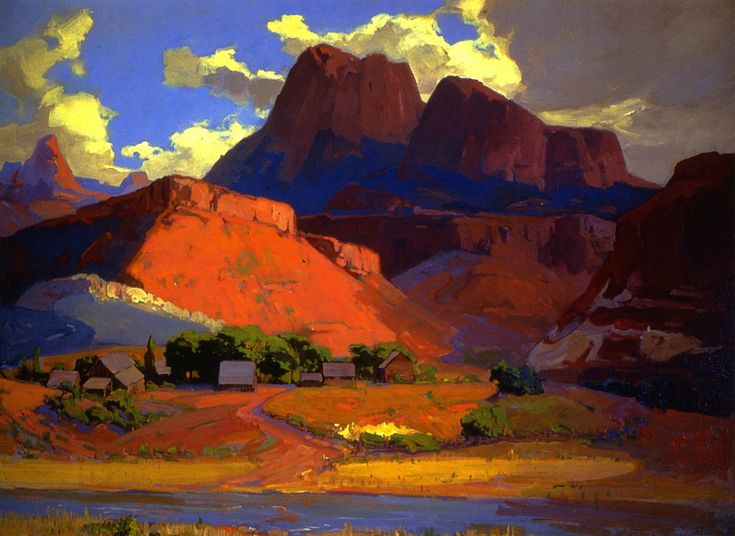 """Franz Bischoff, """"Scattered Farms Along the River"""", 1928 oil on canvas 30 x 40 inches"""