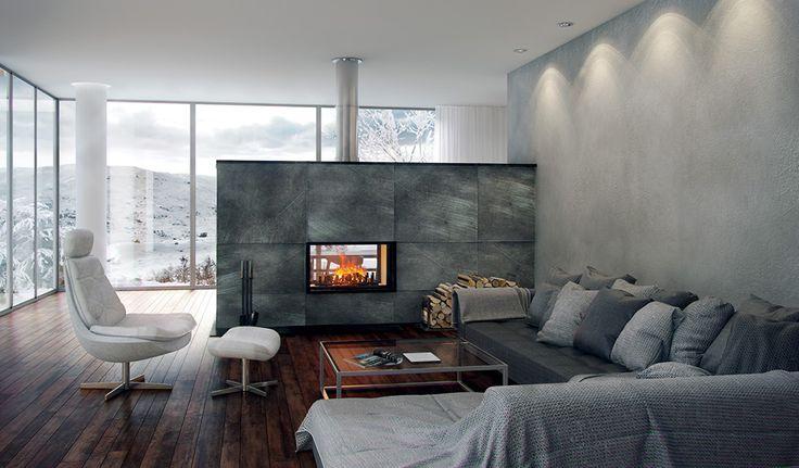 les 25 meilleures id es de la cat gorie chemin e double face sur pinterest foyer double face. Black Bedroom Furniture Sets. Home Design Ideas