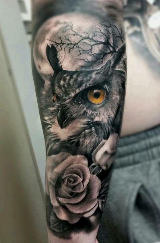 Owl an moon tatto men arm - Tatuaje en el brazo hombre #tattoo #owl #brazo