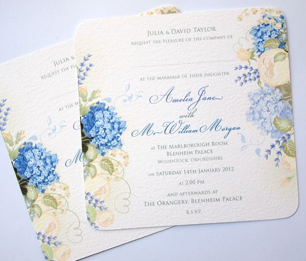 New Hydrangea Wedding Invitations with a Vintage Style!     Featuring pretty blue Hydrangea flower heads, cream Roses, Lily of the Valley and sprigs of Lavender flowers. Finished with vintage type and rounded corners to create this stylish wedding invitation. Supplied with a quality square envelope which can be printed with your RSVP address or we can supply matching Reply Cards with pre-printed envelopes.    A full range of matching stationery is available in this design.