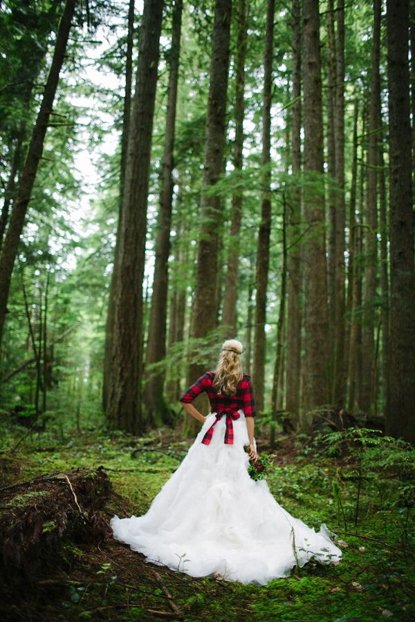 Lumberjack bride. Gown by Ania Collection & custom flannel jacket by Karina Reed.