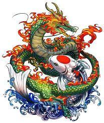 Resultado de imagen para pez koi y dragon