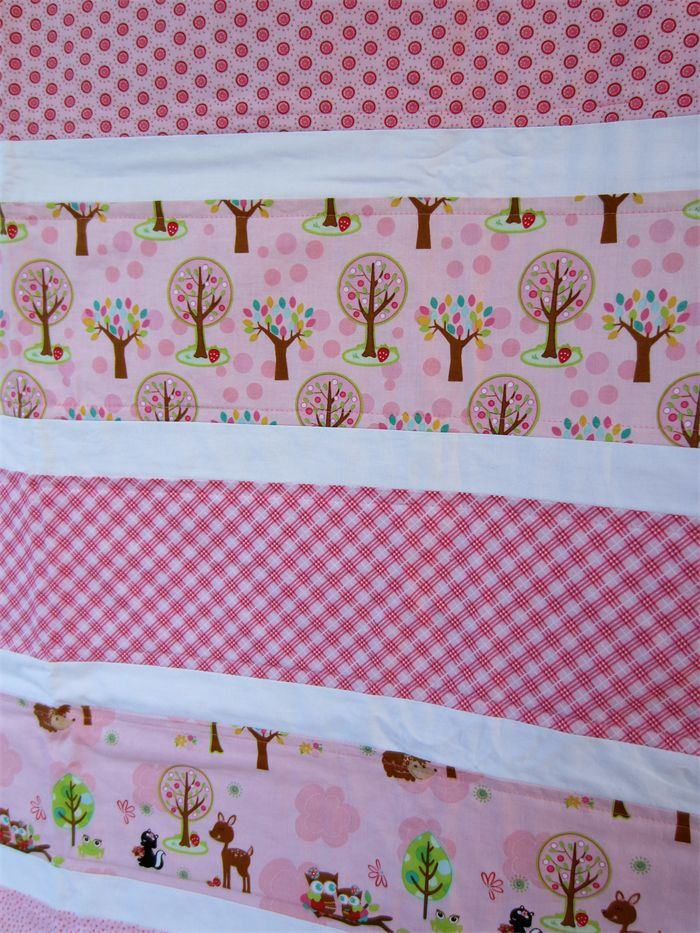 Girls Pink Cot Quilt Blanket - Forest Animals | by LittleStarrs |