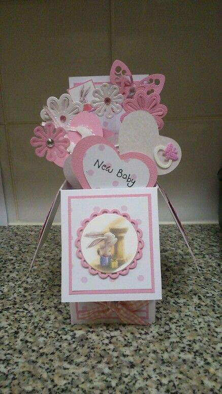 Pop up new baby girl card using bebunni toppers