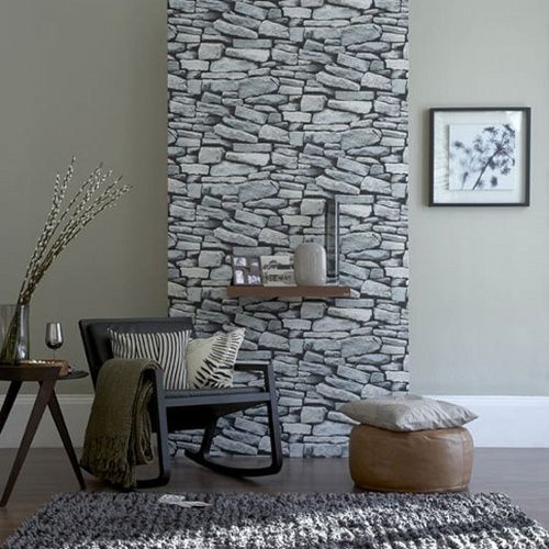Natursteinwand Im Wohnzimmer Tapete