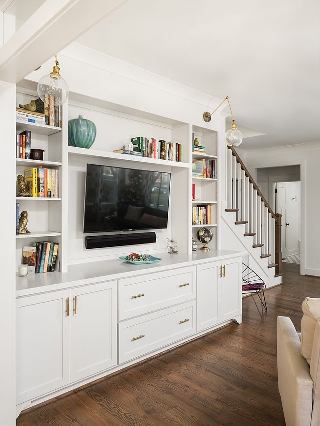 Small Modern Farmhouse With Front Porch Living Room Built Ins Living Room Entertainment Center Living Room Entertainment #small #modern #farmhouse #living #room