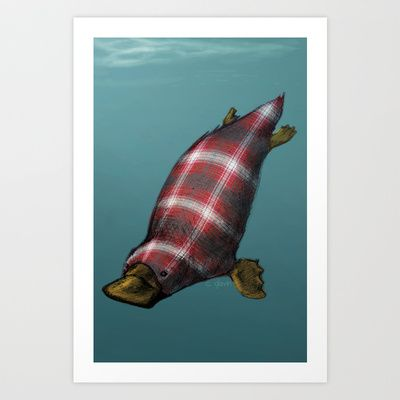 Plaid-ypus Art Print by The Jellyfish Collective - $15.00 #plaid #platypus #animal #critter #cute #fun #pun #illustration