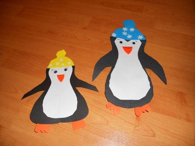 tučňáci - s čepicemi, vystřihování z papíru