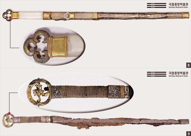 세고리자루큰칼. 경주 천마총, 삼국시대, 길이 85cm <Below> 용봉무늬자루큰칼. 공주 무령왕릉, 삼국시대, 길이 82cm
