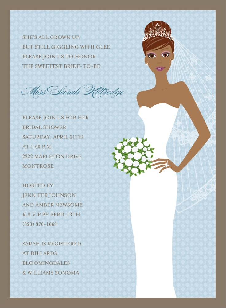 Blushing Bride Blue African American Invitations