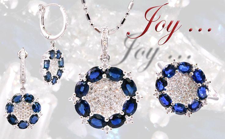 Diamond with sapphire set