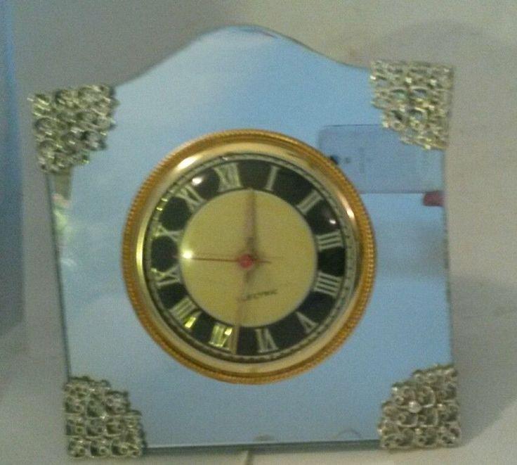 Vintage Ingraham Co. Clock Mirrored Mantle Desk Table Electric Works