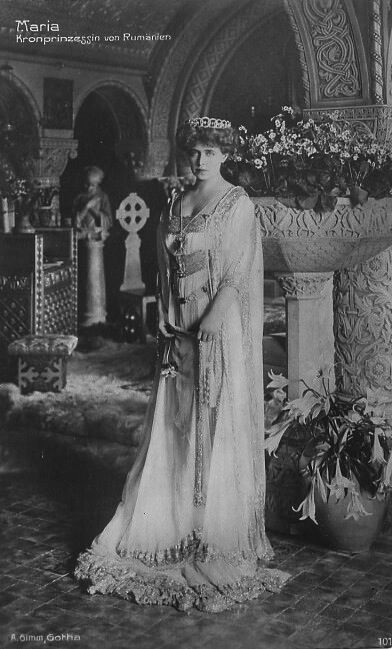 Princess Marie Alexandra Victoria of Edinburgh,Queen of Romania.29 October 1875-18 July 1938.Daughter of Prince Alfred Ernest Albert,Duke of Edinburgh & Grand Duchess Maria Alexanderovna of Russia.Married Albert Meinrad,Ferdinand l of Romania (1865-1927) on 10 Januaryb1893.Queen Consort of Romania.Issues:Carol (1893-1953).Elizabeth (1894-1956).Marie (1900-1961).Nicholas (1903-1978).Ileana (1909-1991).Mircea (1913-1916) *Granddaughter of Queen Victoria