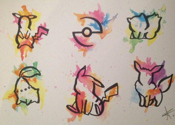 Pokemon watercolour tattoo flash sheet  high quality A4 print