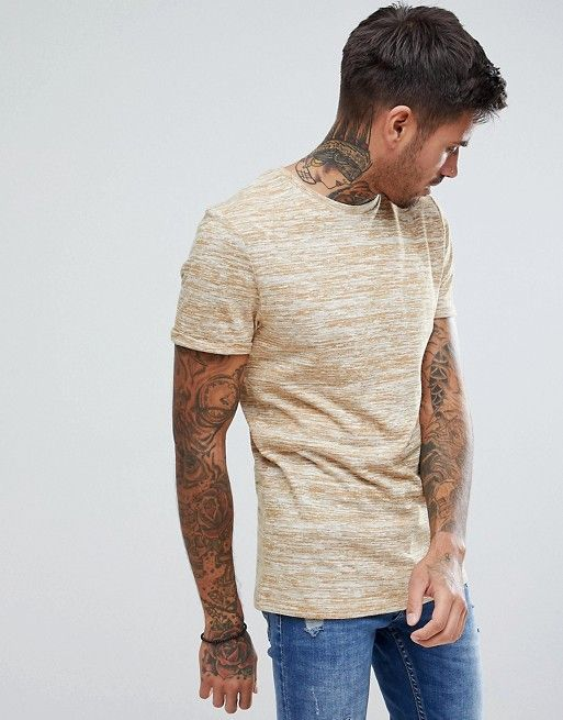 6cbb0047 muscle fit T-Shirt In Lightweight Knitted Jersey With Roll Sleeve In Tan |  MAN T/S | How to roll sleeves, Muscle t shirts, T shirt