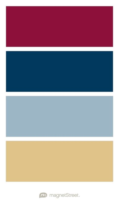Custom Burgundy, Navy, Custom Slate Blue, and Gold Wedding Color Palette - custom color palette created at MagnetStreet.com