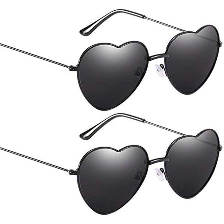 Lolitarcrafts 2 Stück herzförmige Sonnenbrille Candy Farbe Hippy Vintage Sonne…
