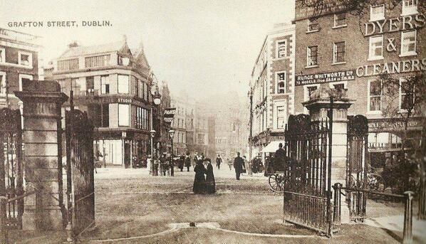 The old gate of St Stephen's Green, before the erection of the Arch, looking towards Grafton street.