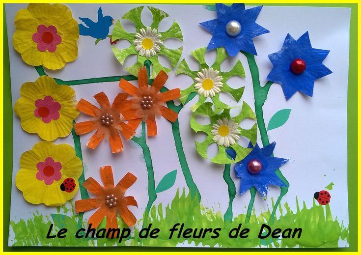 Champ de fleurs réalisé avec des petites caissettes en papier (1)