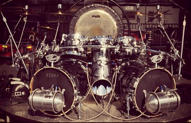 ZZ Top's drummer Frank Beard's new 'hot rod' drum kit. Picture from Instagram: @remopercussion #Tama #Remo #JohnDouglasdesigns