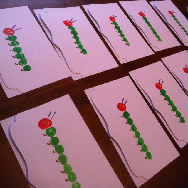 The very hungry caterpillar thank you cards - hand made by your child