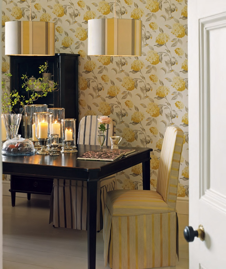 Laura Ashley Hydrangea Print Wallpaper Dining Room