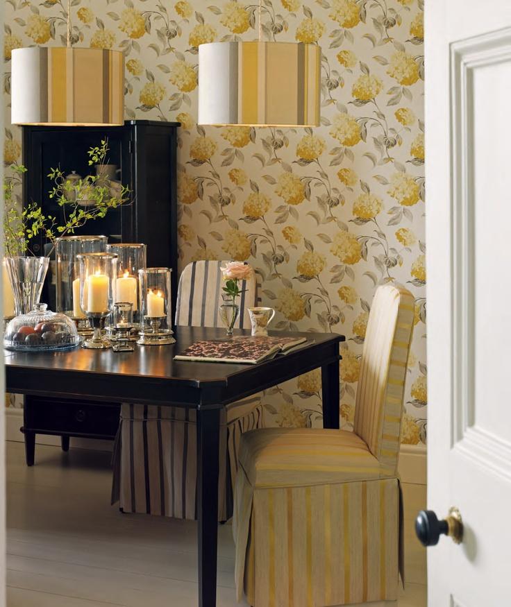 Laura Ashley Hydrangea Print Wallpaper Dining Room