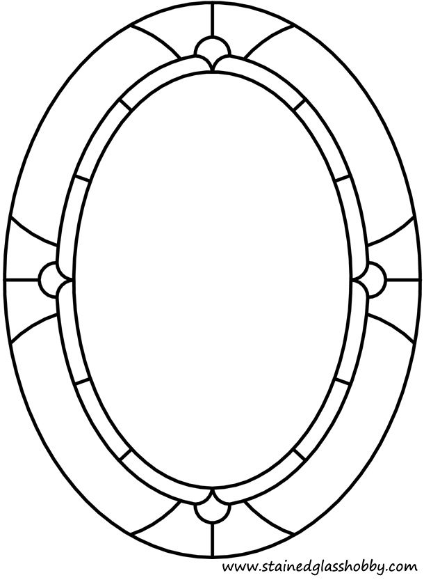 Stained glass elliptical frame border design