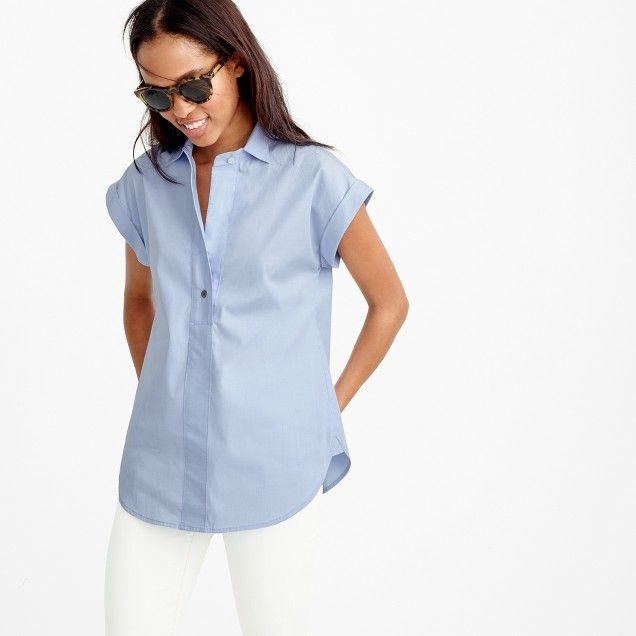 Short-sleeve popover shirt in oxford blue