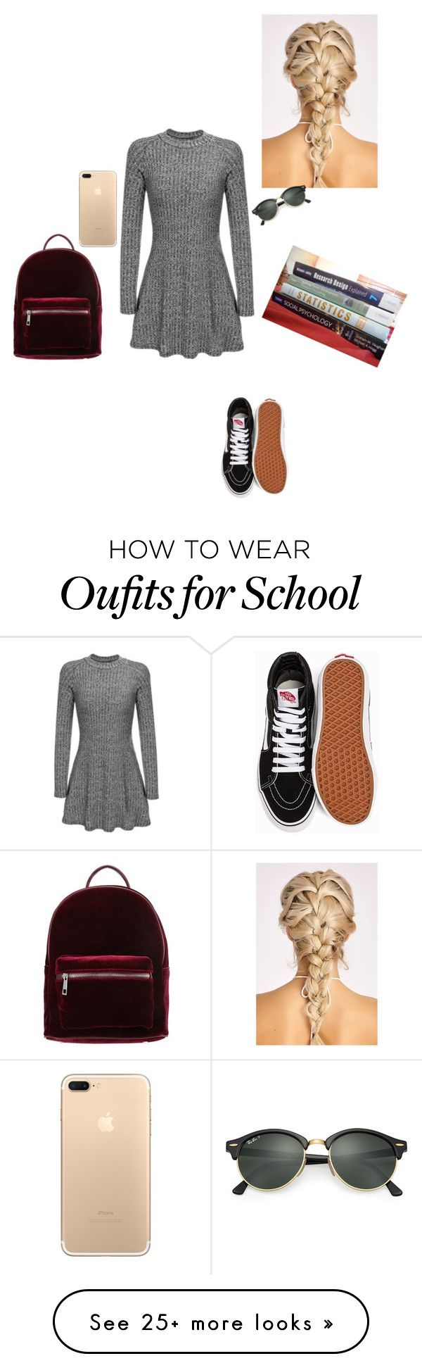 """""""Casual school outfit"""" by sonialicetmartinez on Polyvore featuring Vans, even&odd and Ray-Ban"""