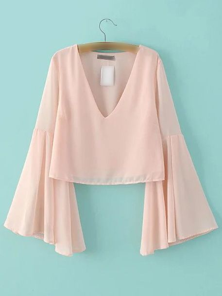 Pink Bell Sleeve V Neck Chiffon Blouse -SheIn(abaday)