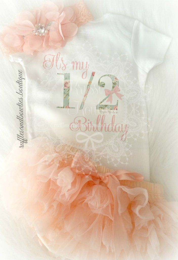 Its her half birthday & theres no better way to celebrate a milestone like this than with CAKE & pretty outfit pairings. This adorable aqua and peach half birthday design has delicate floral details p