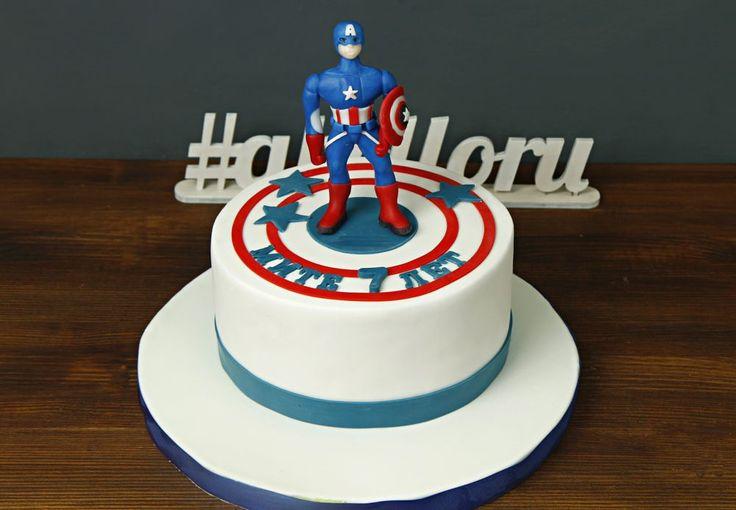 """Детский торт """"Капитан Америка""""  Близкий для Вас человек увлекается комиксами? Подарите ему возможность почувствовать себя настоящим супер-героем😄 Наш тортик  «Капитан Америка» зарядит его энергией и дарует ему суперсилы для борьбы со злом💪Изготовление фигурки Капитана Америка в дополнительную стоимость 500 руб.  Изготовление тортика как на фото возможно от 2-х кг всего за 2350₽/кг. Изготовление #фигуркиизмастики супер-героя 500₽.  Специалисты @abello.ru всегда рады помочь с выбором…"""