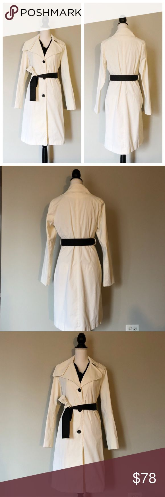 """DKNY Trench Coat This beautiful white DKNY trench coat is definition of classic! This is the perfect addition to any wardrobe 🔹color: bright white  🔹removable and reversible belt (1 side black, 1 side white) 🔹pockets 🔹size: Small  🔹sleeve length: approx. 24""""  body length (top to bottom): approx. 38.5""""  🔹59% cotton, 38% nylon, 3% spandex  Lining: 100% polyester  🔹condition: NWOT Dkny Jackets & Coats Trench Coats"""