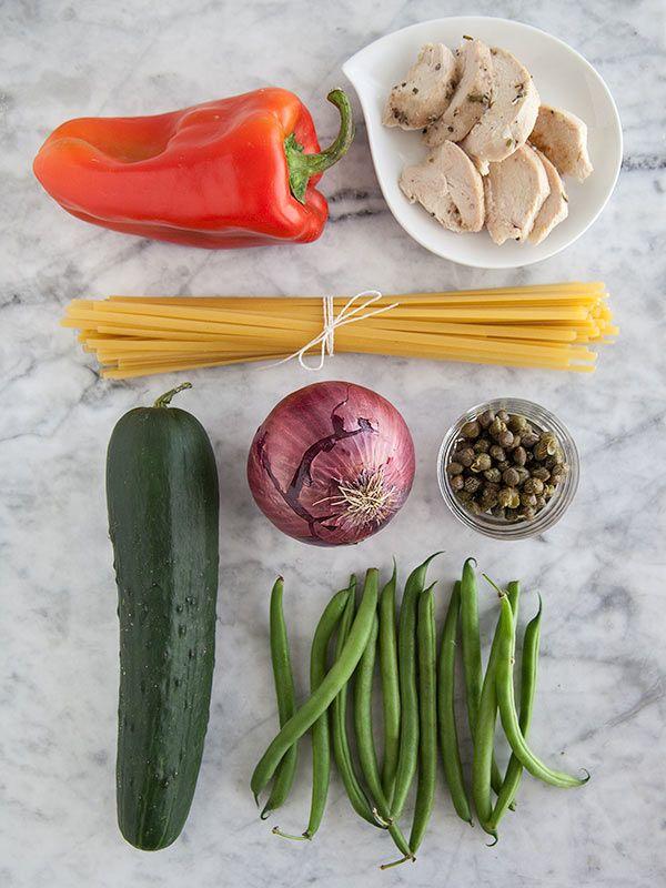 Chicken Nicoise Pasta Salad | foodiecrush