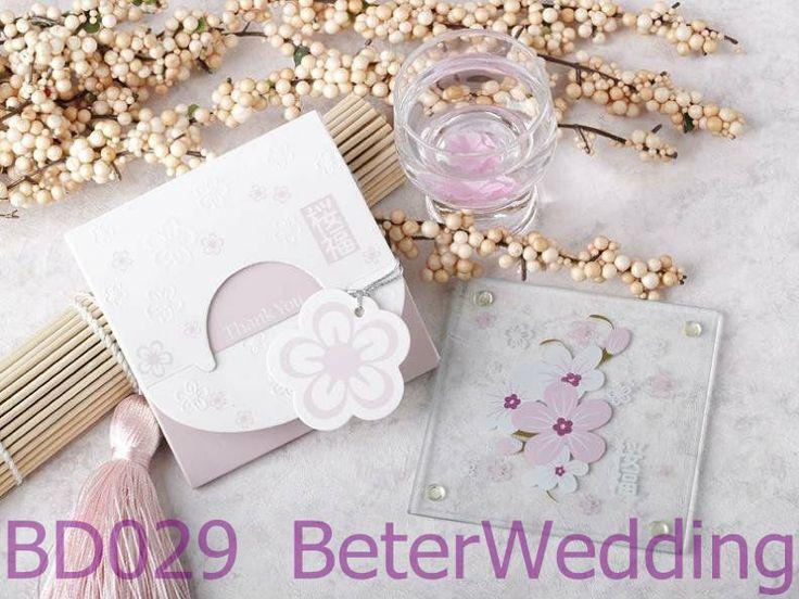 Elegant Love Cherry Blossom Glass Coaster BD029 Wedding Weddingplanning Weddingfavors Weddinggifts