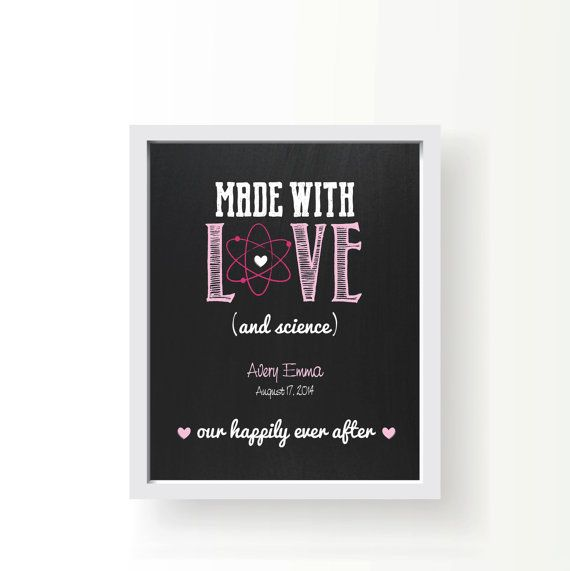Made with love (and science) • Personalized Nursery art • 8x10 • Infertility • Chalkboard • Gift • Baby • Custom • Fertility •  Boy • Girl